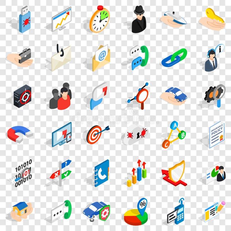Biznesowe post?p ikony ustawia?, isometric styl royalty ilustracja
