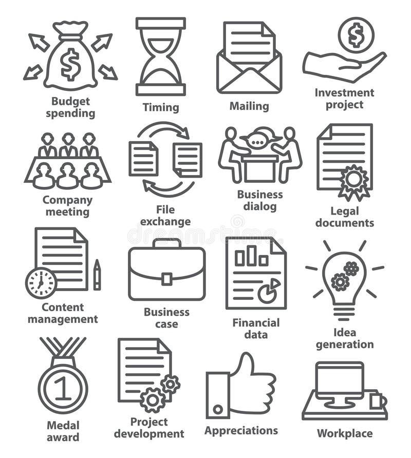 Biznesowe projekta planowania ikony w kreskowym stylu royalty ilustracja