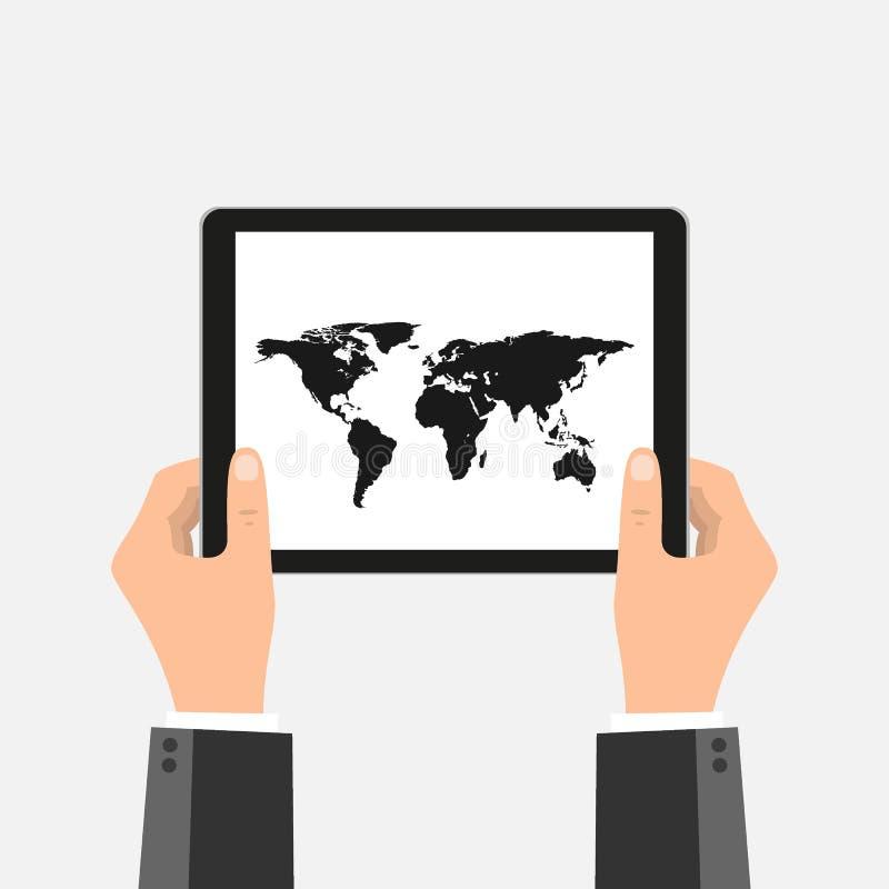 Biznesowe ręki trzyma pastylka komputer osobistego z mapa ekranem i czerni ramą Przedmiot odizolowywający tło ilustracja wektor