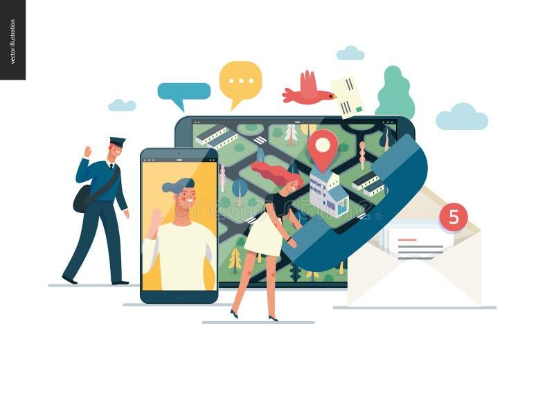 Biznesowe serie - kontakt sieci szablon ilustracja wektor