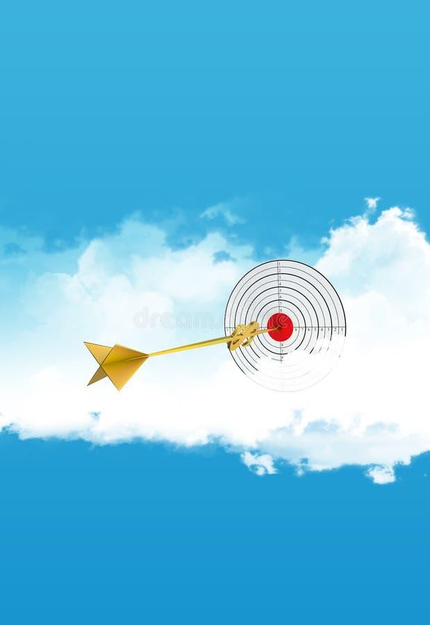 Biznesowe strzałki Chmurnieje cel Złota strzała - dolar ilustracji