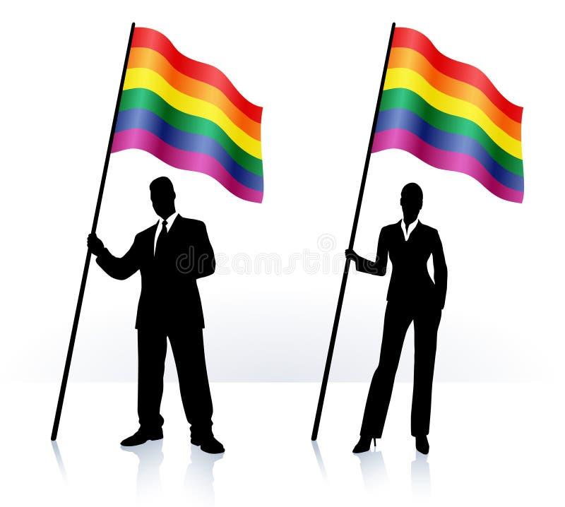 Biznesowe sylwetki z falowania flaga Homoseksualna Duma royalty ilustracja