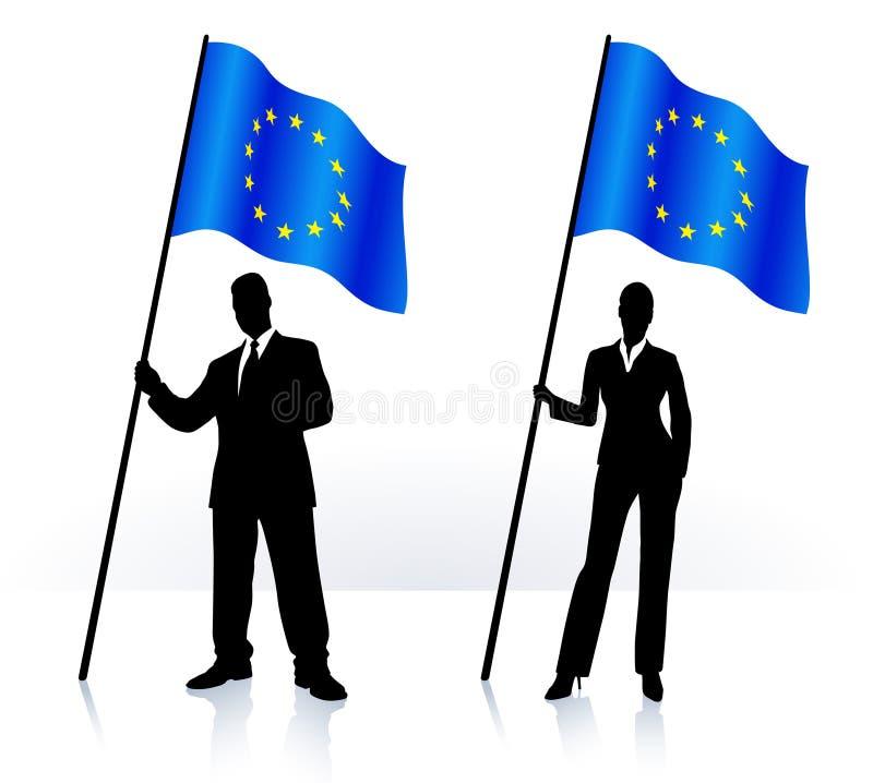 Biznesowe sylwetki z falowanie flaga Europejski zjednoczenie royalty ilustracja