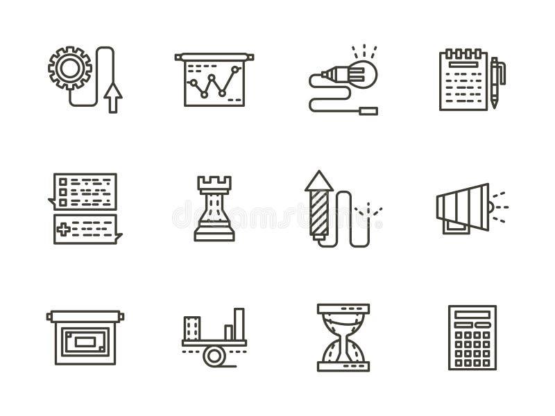 Biznesowe taktyki czerni linii ikony inkasowe ilustracji