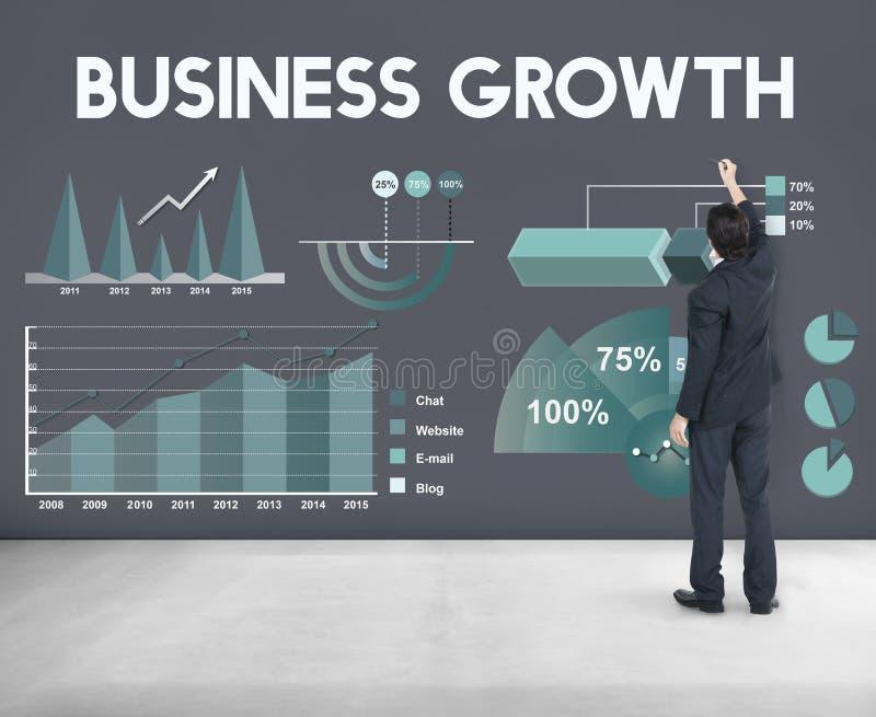 Biznesowe Wzrostowe analityka Wprowadzać na rynek Raportowego pojęcie obrazy royalty free