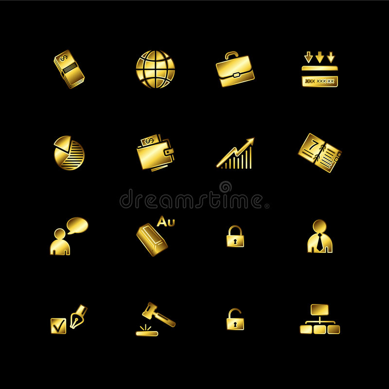 biznesowe złociste ikony royalty ilustracja