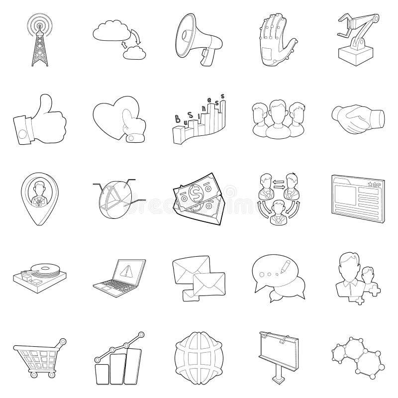 Biznesowe zakres ikony ustawiać, konturu styl ilustracja wektor