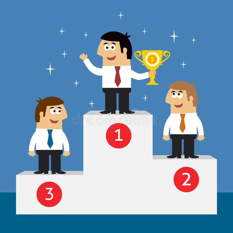 Biznesowego życia pracownicy na zwycięzcy podium ilustracji