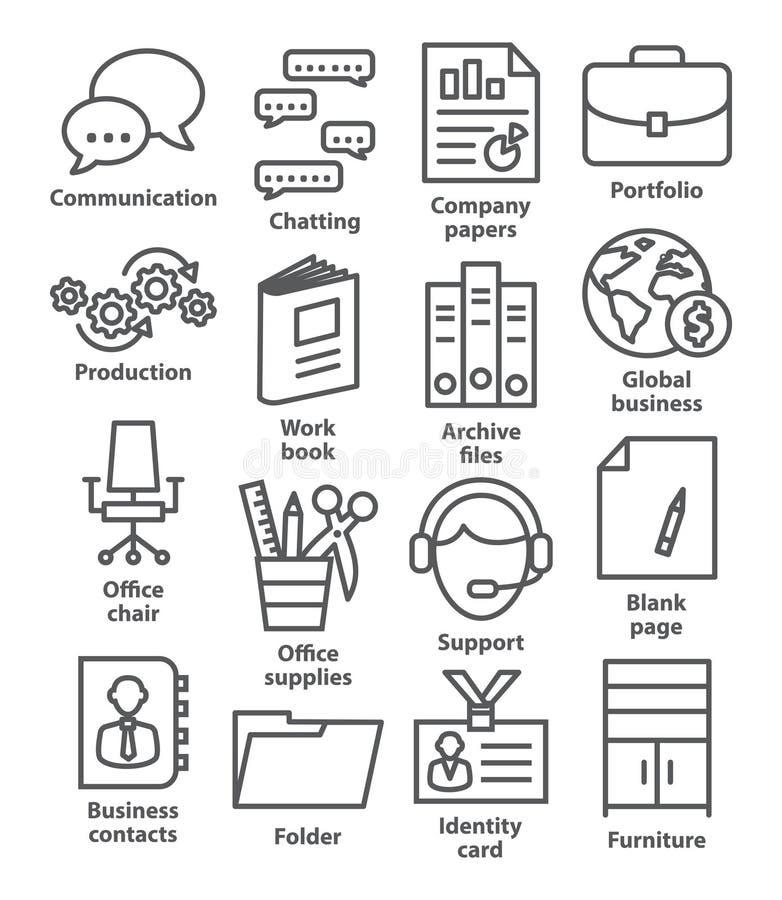 Biznesowego biura ikony w kreskowym stylu ilustracji