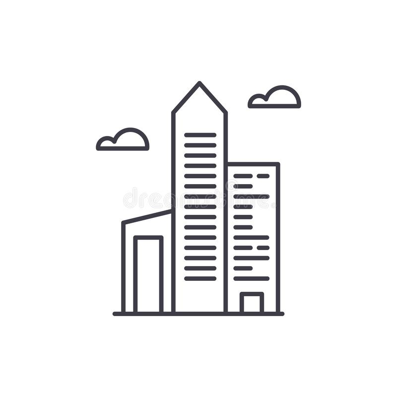 Biznesowego biura linii ikony pojęcie Biznesowego biura wektorowa liniowa ilustracja, symbol, znak ilustracja wektor