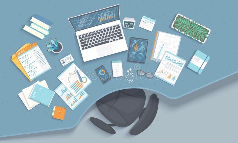 Biznesowego biura miejsce pracy z stołem, karło, biurowe dostawy, notatnik, laptop, dokumenty Mapy, grafika na monitoru ekranie royalty ilustracja