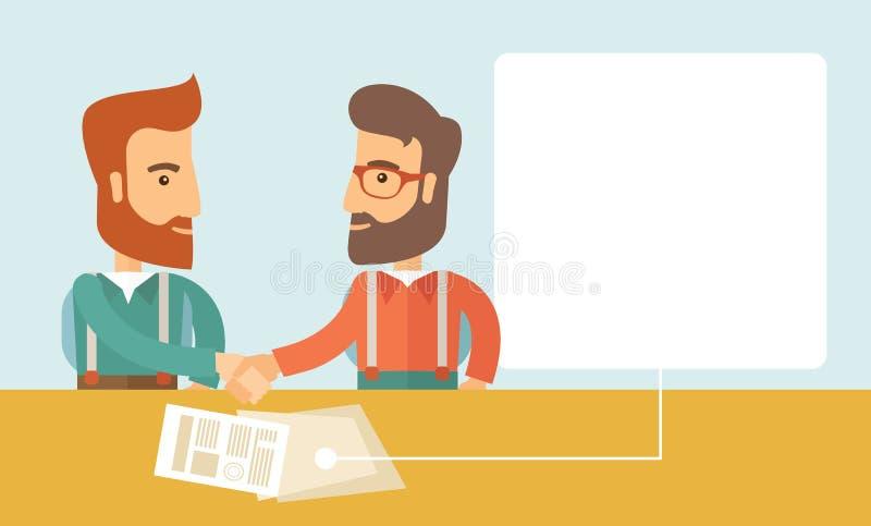 biznesowego biznesmena cmputer biurka laptopu spotkania ja target1953_0_ target1954_0_ używać kobiety royalty ilustracja