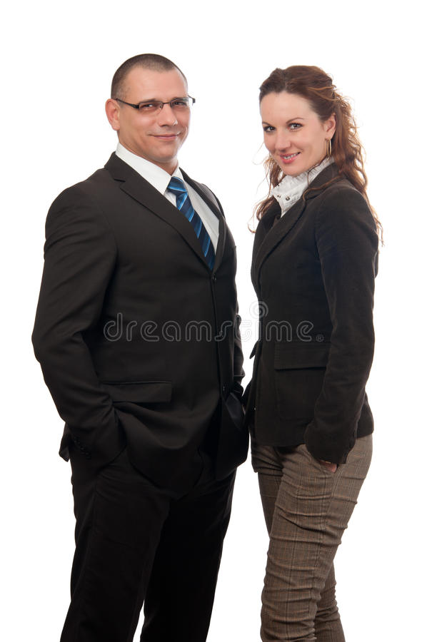 biznesowego biznesmena uśmiechnięta kobieta obrazy stock