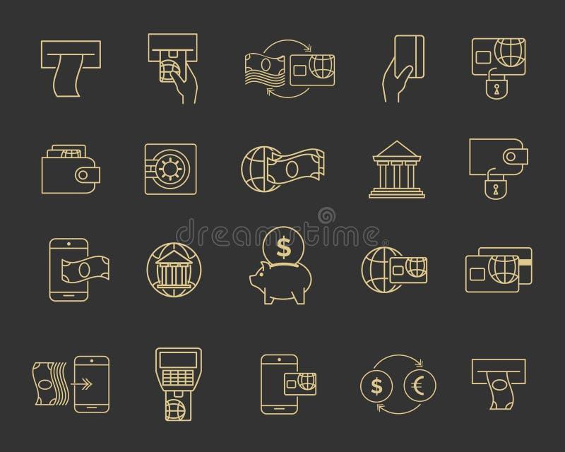 Biznesowego budżeta bankowości linia podpisuje, pieniężne ikony i płatniczy konturów symbole ilustracja wektor