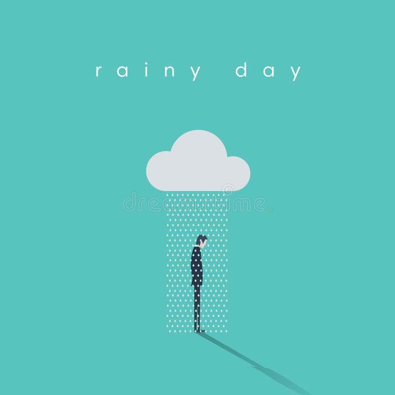 Biznesowego deszczowego dnia wektorowy pojęcie z biznesmen pozycją pod chmurą i deszczem royalty ilustracja