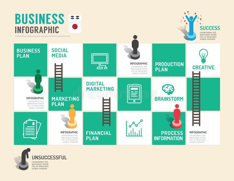 Biznesowego gry planszowa pojęcia infographic krok pomyślny ilustracja wektor