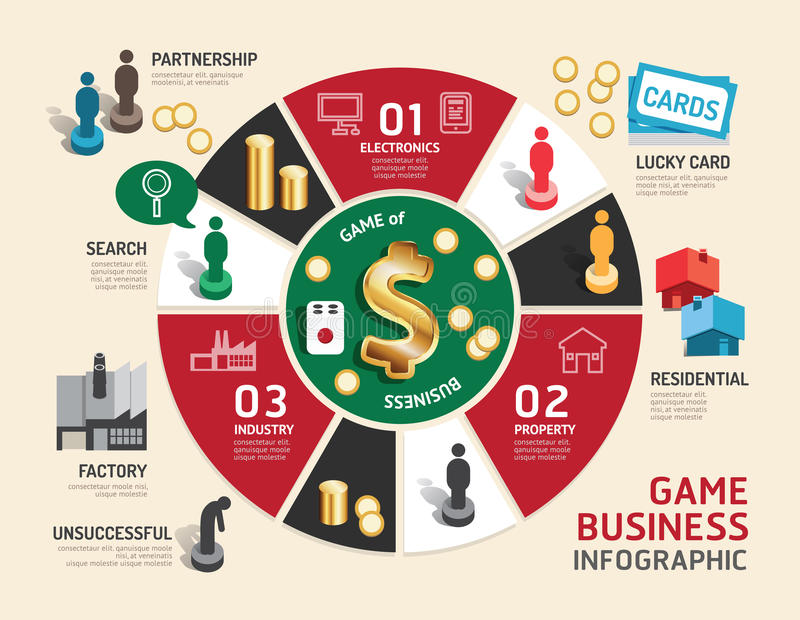 Biznesowego gry planszowa pojęcia infographic krok pomyślny royalty ilustracja