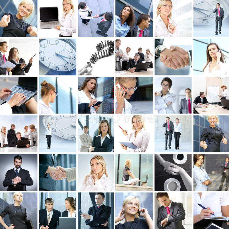 biznesowego kolażu różni wizerunki zdjęcia royalty free