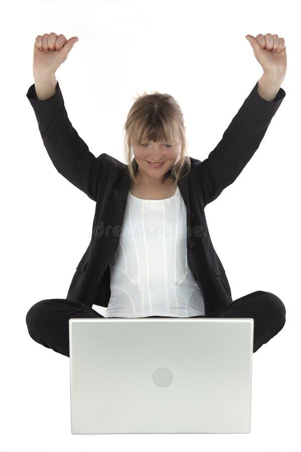 Download Biznesowego Laptopu Pomyślna Kobieta Obraz Stock - Obraz: 10170161