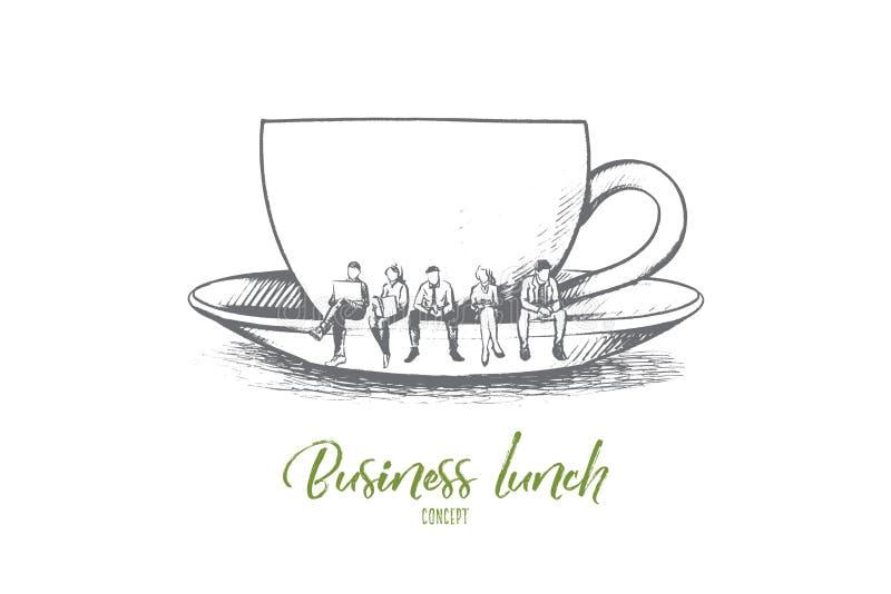 Biznesowego lunchu pojęcie Ręka rysujący odosobniony wektor ilustracja wektor