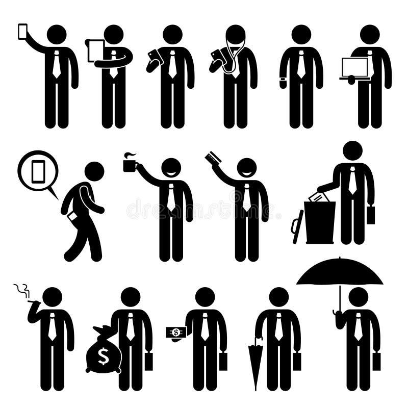 Biznesowego mężczyzna biznesmen Trzyma Różnorodnych przedmioty Cliparts ilustracja wektor