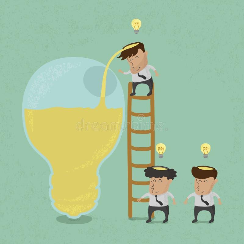 Biznesowego mężczyzna brainstorming, Robi pomysłowi ilustracja wektor
