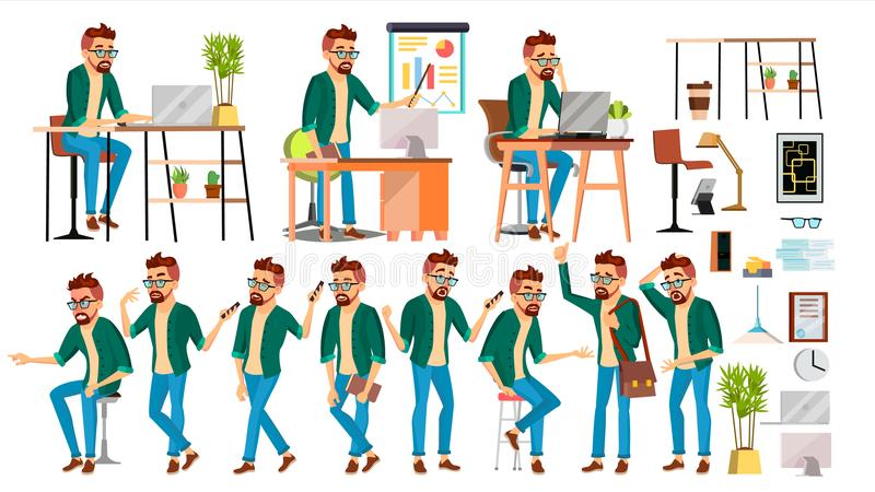 Biznesowego mężczyzna charakteru wektor Modnisiów pracujący ludzi Ustawiający Biuro, Kreatywnie studio pracownik Pełna długość pr ilustracja wektor