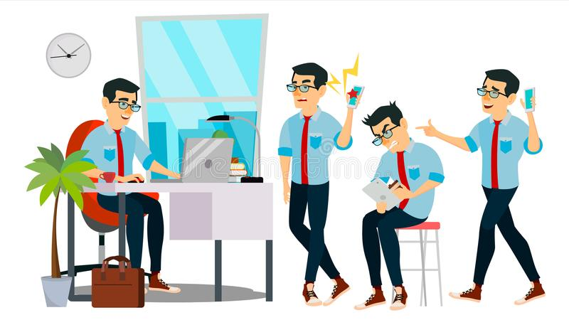 Biznesowego mężczyzna charakteru wektor Pracująca Azjatycka samiec IT Rozpoczęcie Biznes Firma Środowisko proces developer _ ilustracji