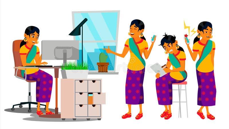 Biznesowego mężczyzna charakteru wektor Pracująca Hinduska samiec IT Rozpoczęcie Biznes Firma Środowisko proces developer folował royalty ilustracja