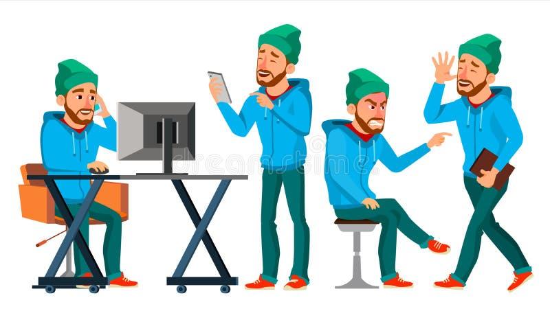 Biznesowego mężczyzna charakteru wektor Pracująca samiec Środowisko proces Zaczyna up brodaty Pracownik, Freelancer Pełna długość royalty ilustracja