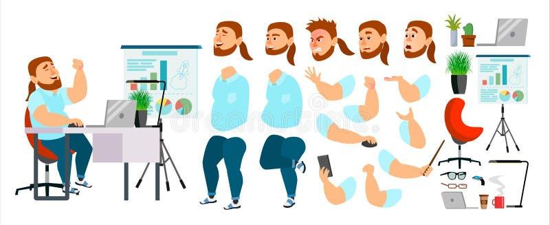 Biznesowego mężczyzna charakteru wektor Pracująca samiec Przypadkowi ubrania Zaczyna up Biurowy spotkanie developer Animacja set  royalty ilustracja