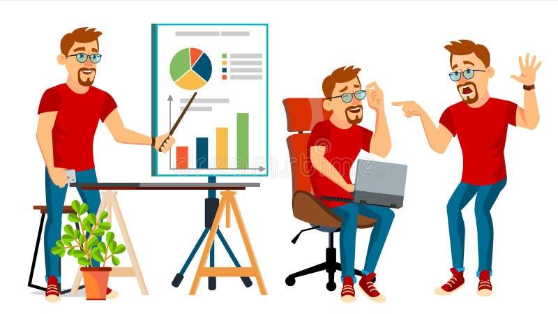 Biznesowego mężczyzna charakteru wektor Pracujący mężczyzna brodaty Środowiska Proces Kreatywnie studio męski pracownik Pełna dłu ilustracji