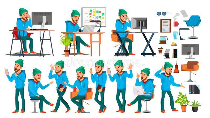 Biznesowego mężczyzna charakteru wektor Pracujący ludzi ustawiający Biuro, Kreatywnie studio brodaty Pracownik, Freelancer Pełna  ilustracja wektor