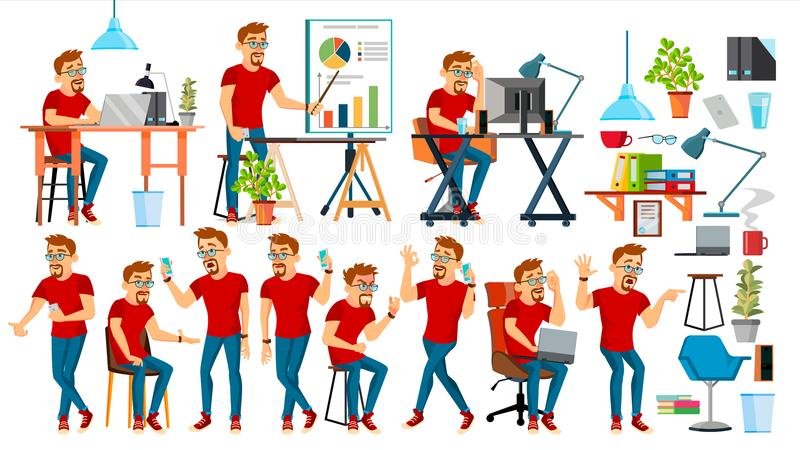 Biznesowego mężczyzna charakteru wektor Pracujący ludzi ustawiający Biuro, Kreatywnie studio brodaty pracownik Pełna długość prog ilustracja wektor
