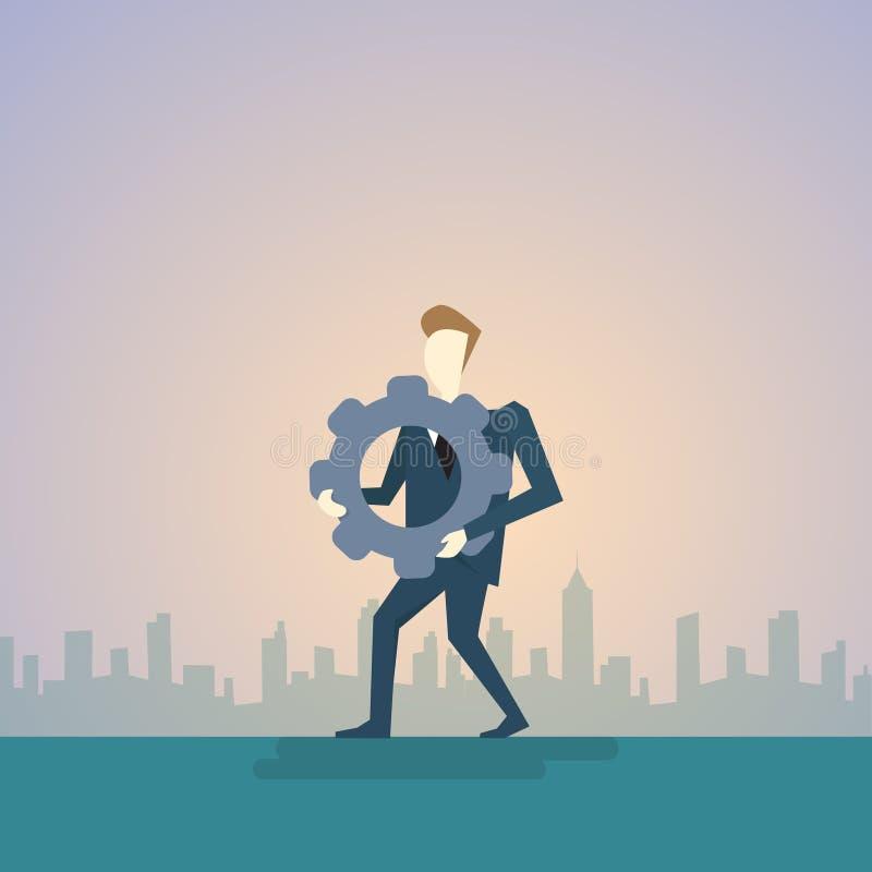 Biznesowego mężczyzna chwyta Cog koło Rozpamiętywa myśli strategii pojęcie ilustracja wektor
