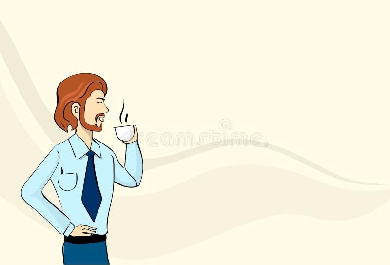 Biznesowego mężczyzna chwyta filiżanka, Gorący napój, Herbaciana Copffee przerwy kopii przestrzeń royalty ilustracja