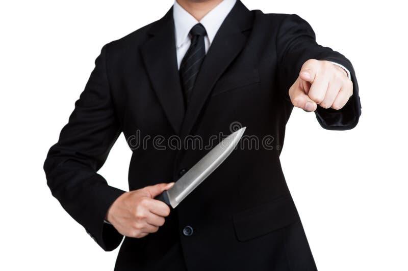 Biznesowego mężczyzna chwyta Judaszowy nóż obrazy royalty free