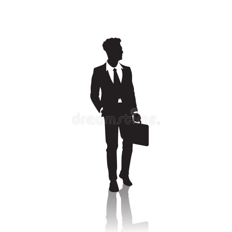 Biznesowego mężczyzna czerni sylwetka Stoi Pełną długość Nad Białą tło chwyta teczką ilustracja wektor