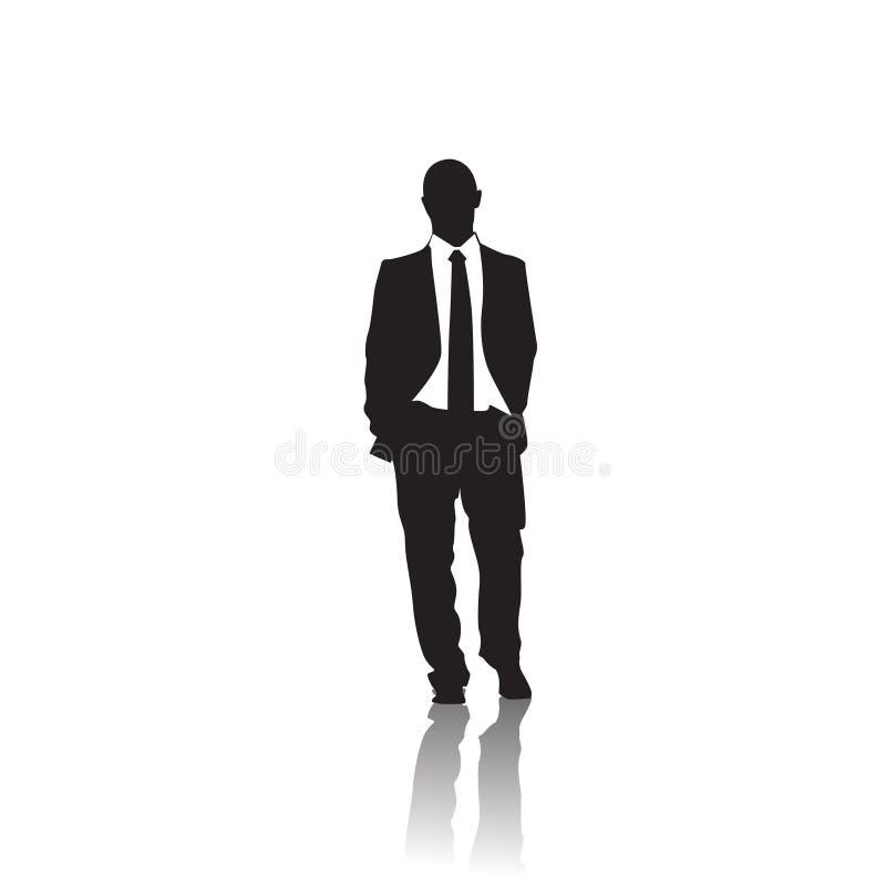 Biznesowego mężczyzna czerni sylwetka Stoi Pełną długość Nad Białym tłem royalty ilustracja
