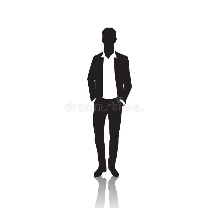 Biznesowego mężczyzna czerni sylwetka Stoi Pełną długość Nad Białymi tło rękami W kieszeniach ilustracja wektor