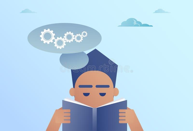 Biznesowego mężczyzna Czytelniczej książki gadki bąbel Z Cogwheel Brainstorming procesu pojęciem royalty ilustracja
