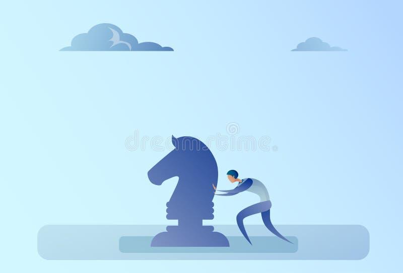 Biznesowego mężczyzna dosunięcia postaci Brainstorming strategii procesu planowania Szachowy pojęcie ilustracja wektor