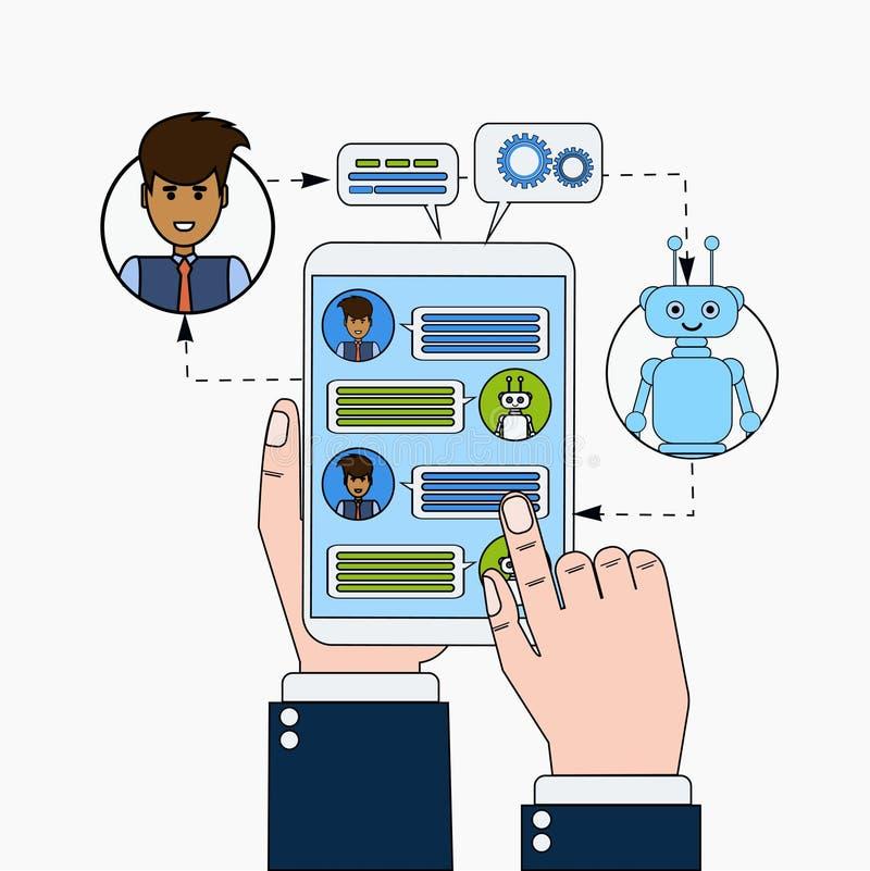 Biznesowego mężczyzna gawędzenie Z Chatbot Trzyma Cyfrowej pastylkę, ilustracja wektor