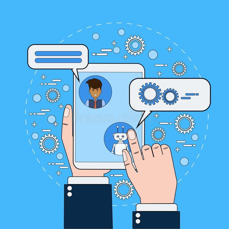 Biznesowego mężczyzna gawędzenie Z Chatbot Trzyma Cyfrowej pastylkę, royalty ilustracja