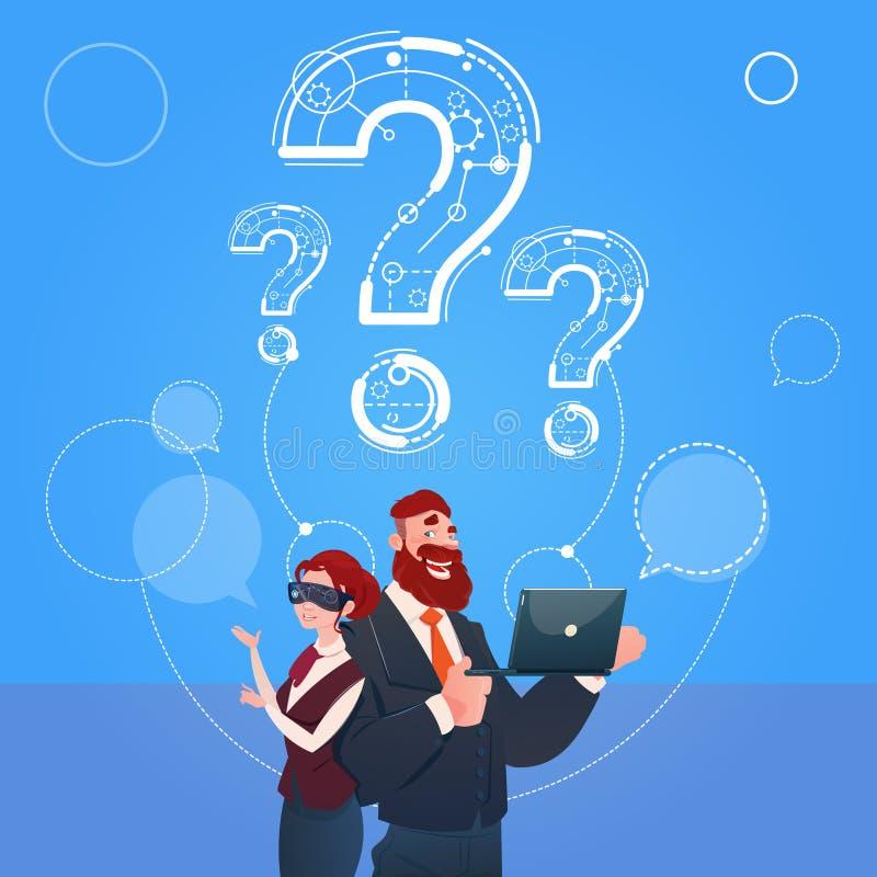 Biznesowego mężczyzna I kobiety odzieży Cyfrowego rzeczywistości szkieł znak zapytania Rozpamiętywa Problemowego pojęcie ilustracji