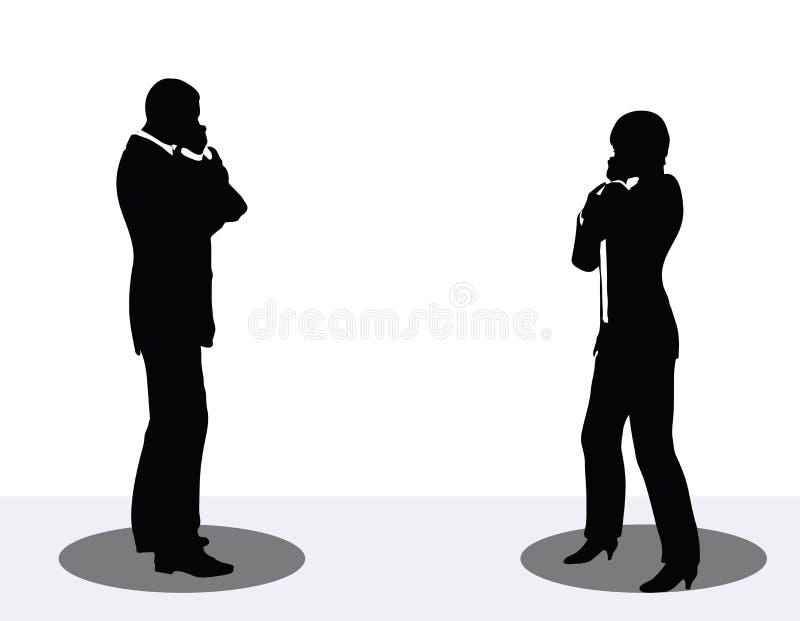biznesowego mężczyzna i kobiety sylwetka na telefonie ilustracji