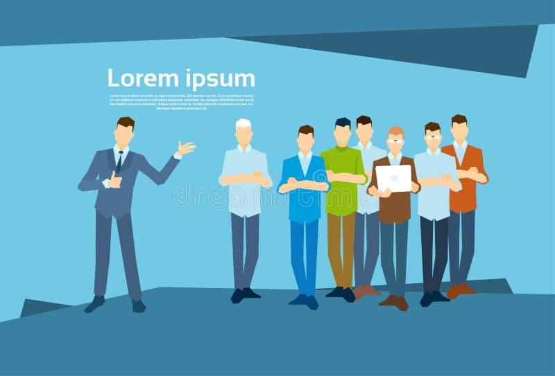 Biznesowego mężczyzna lider Z biznesmen grupą ilustracji