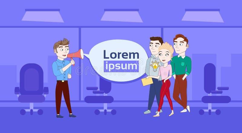 Biznesowego mężczyzna mówienie W megafonie grupa biznesmeni Nad tłem Z kopii przestrzenią ilustracji