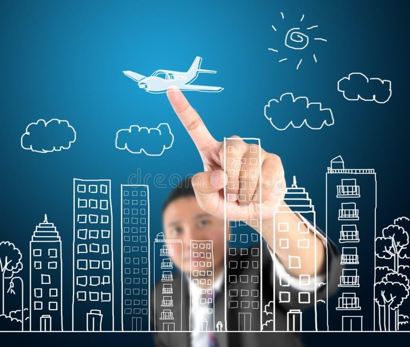 Download Biznesowego Mężczyzna Miasta Rysunkowy życie I Podróżować Obraz Stock - Obraz złożonej z architekt, biznes: 28965385