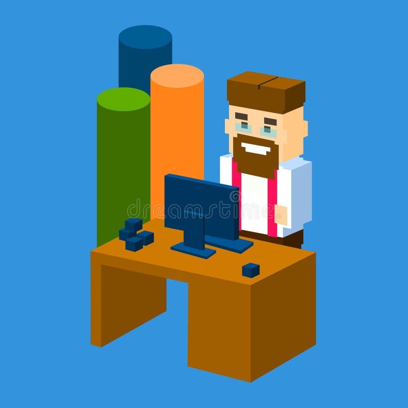 Biznesowego mężczyzna miejsca pracy Desktop biuro Z mapa barem 3d Isometric ilustracji